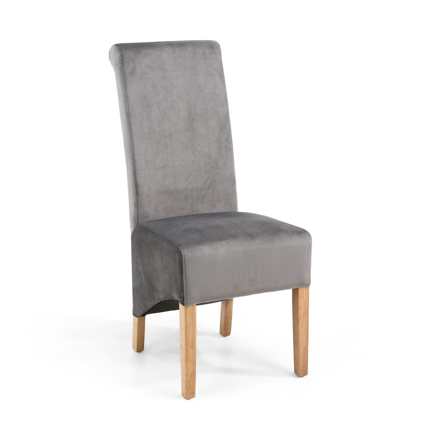 Karren Roll Back Brushed Velvet Grey Dining Chair