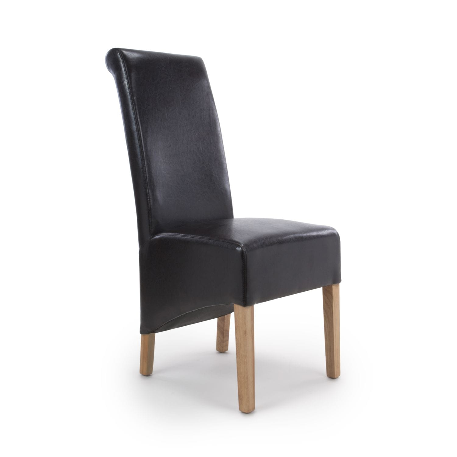 Karren Roll Back Bonded Leather Black Dining Chair