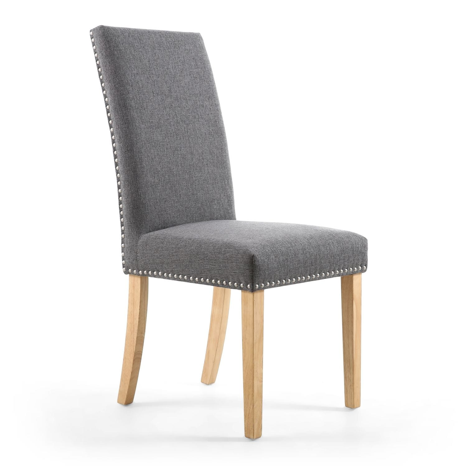 Rivendell Stud Detail Linen Effect Steel Grey Dining Chair with Natural Legs