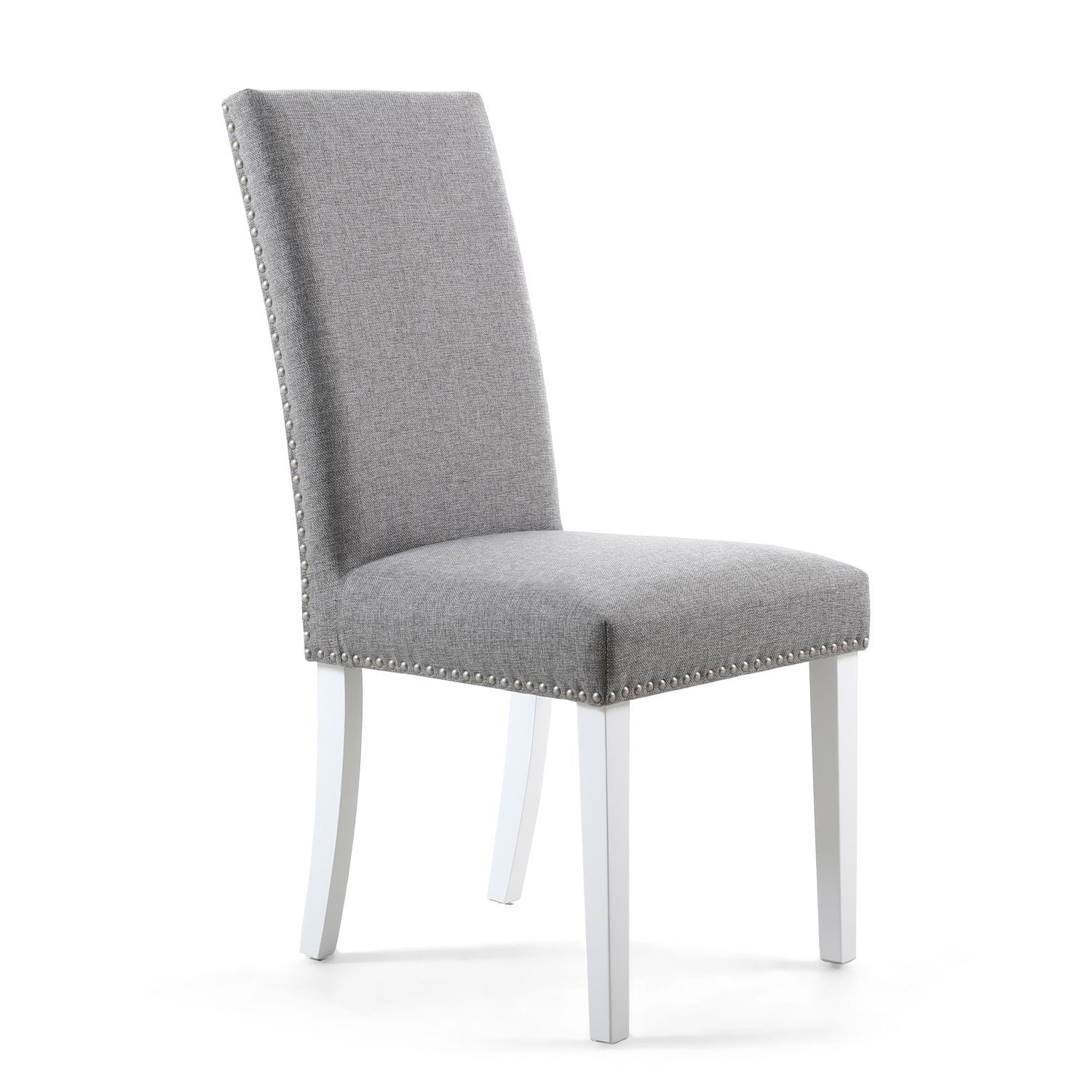 Rivendell Stud Detail Linen Effect Silver Grey Dining Chair with White Legs