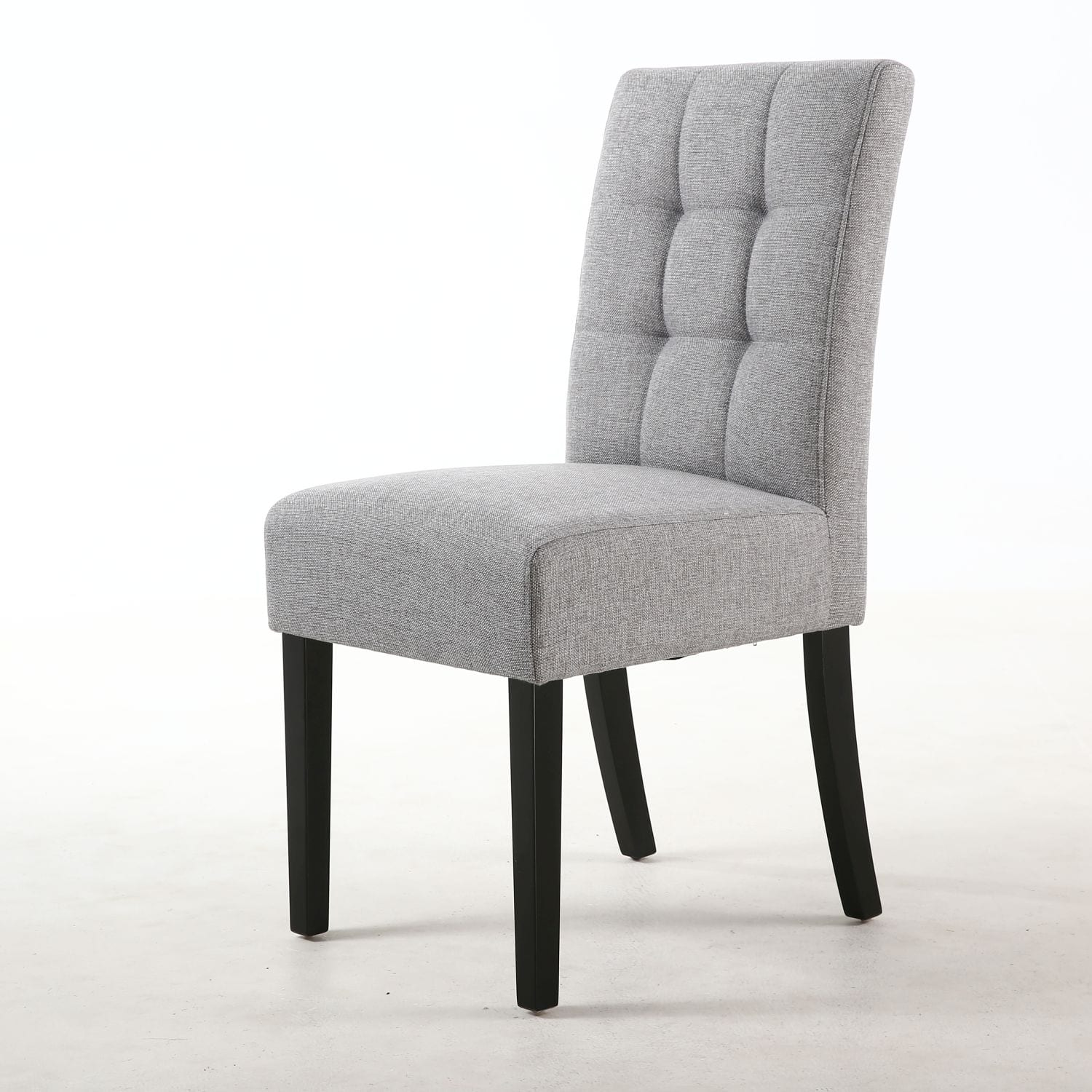William Stitched Waffle Back Linen Effect Silver Grey Dining Chair with Black Legs