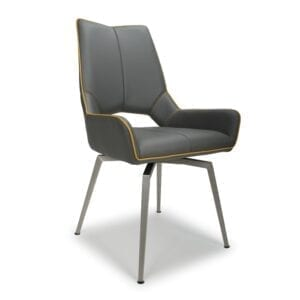 Mackerel Swivel Leather Effect Graphite Grey Dining Chair