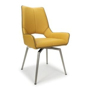 Mackerel Swivel Leather Effect Yellow Dining Chair