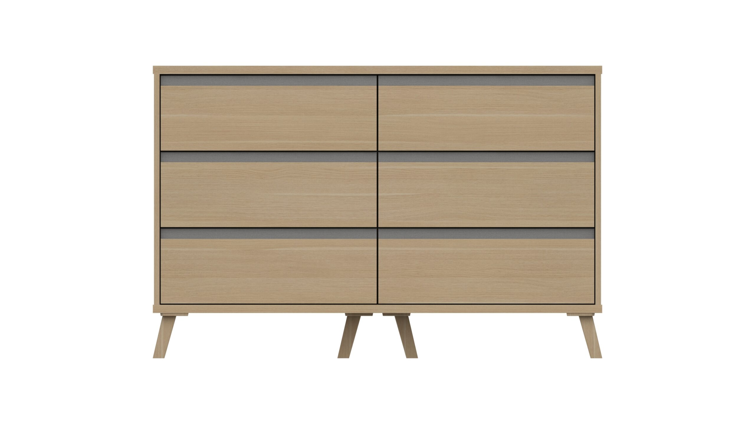 Tamarine Three Draw Double Chest - Natural Oak