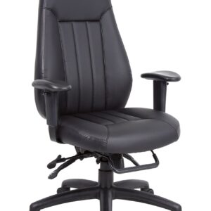 Zali Office Chair - Black Leather Faced