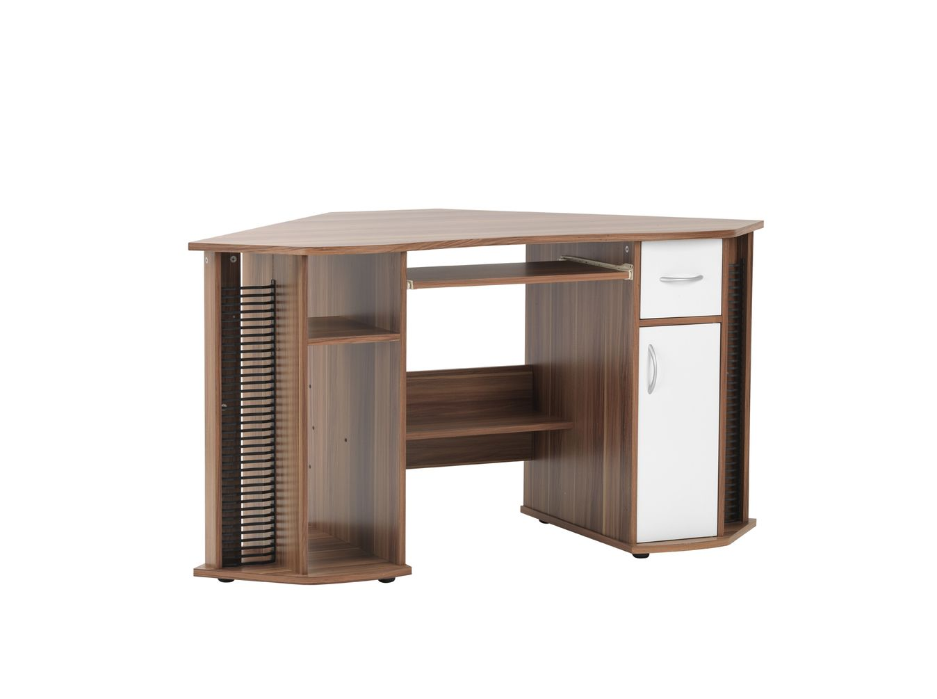Johnson Exec Desk Corner Walnut And White