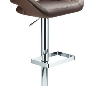 Active Adjustable Modern Bar Stool Brown Padded Seat And Back