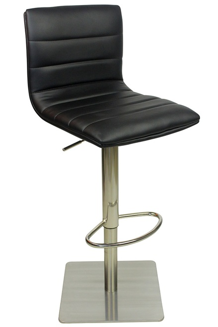 Alpino Brushed Or Chrome Deluxe Kitchen Breakfast Bar Stool Square Weighted Base Height Adjustable Padded