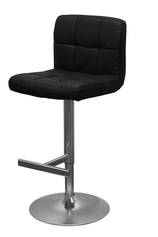 Bartok Adjustable Brushed Chrome Finish Bar Stool With Swivel Seat