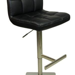 Algari Deluxe Black Breakfast Bar Stool Round Weighted Base Height Adjustable