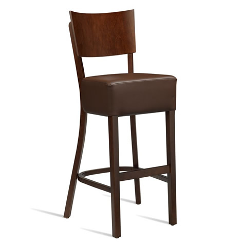 Beethoven Breakfast Bar Stool - Dark Walnut With Padded Faux Leather Seat - Fully Assembled