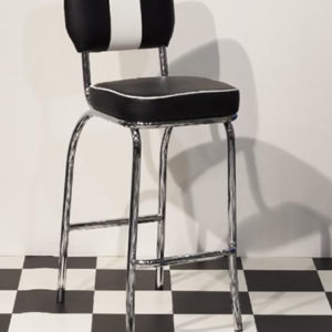 Carro 50S Style Kitchen Retro Stool Tall Black And White Padded Seat Chair