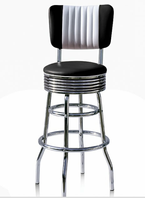 Arizona Diner Retro American Black Kitchen Bar Stool Padded Back Rest Various Colours
