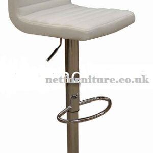 Serene White Kitchen Bar Stool Padded Seat And Back Height Adjustable