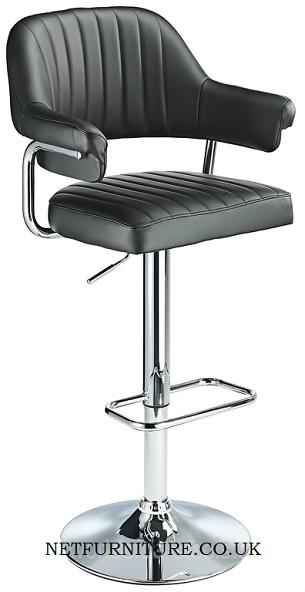 Vibe Retro Style Adjustable Bar Stool Padded Faux Leather Seat Chrome Frame