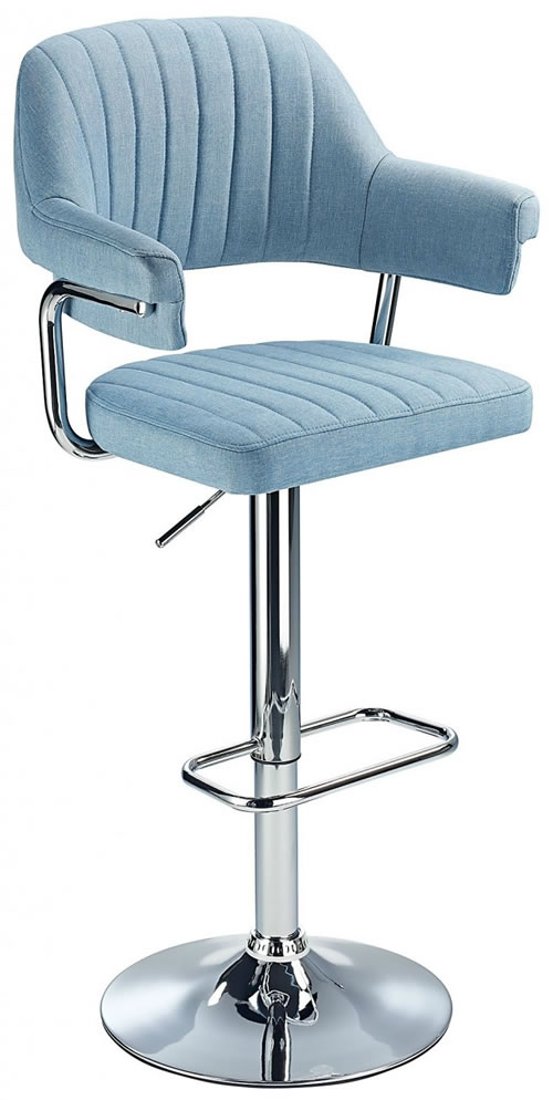 Vibe Retro Style Adjustable Bar Stool With Padded Fabric Seat And Arms Chrome Frame