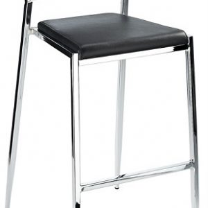 Madon Stackable Chrome Bar Stool Fixed Height With Backrest