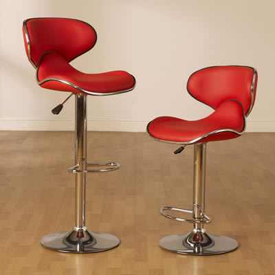 Therinto Kitchen Stool Red Seat Swivel Height Adjustable