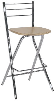 Bahron Italian Beech Wooden Folding Bar Stool With Back Chrome Frame