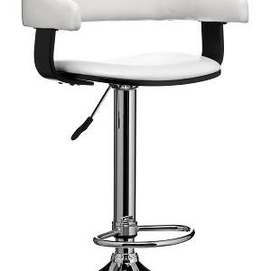 Promos Adjustable Bar Stool Chair Black Wood And Pvc Leather Effect Seat