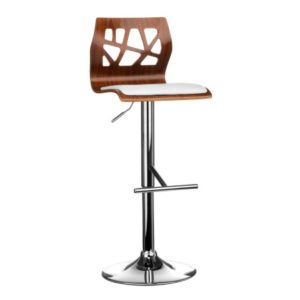 Shara Stool Walnut Wood Black Or White Leather Effect