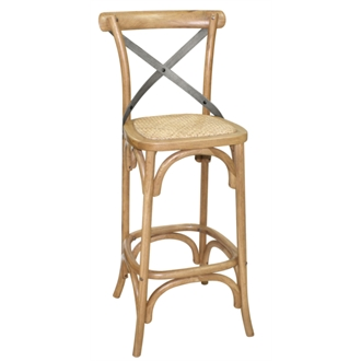 Heidi Retro Vintage Oak Barstool With Rattan Seatpad Fully Assembled