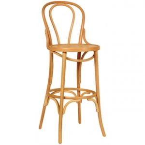 Tawny Beech Wood Natural High Bar Stools Fully Assembled Bentwood Style