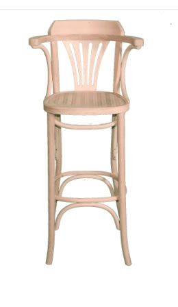 Baycombe Bentwood Walnut Wood Natural High Stools With Armrests Fully Assembled