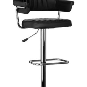 Bernard Retro Style Adjustable Black Bar Stool With Chrome Finish Base