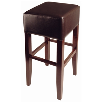 Basanova Wood Padded High Stool - Brown Seat Fully Assembled