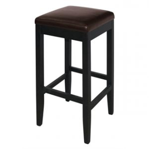 Pair Of Mila Brown Padded Kitchen Bar Stool - Faux Leather And Wood Fully Assembled