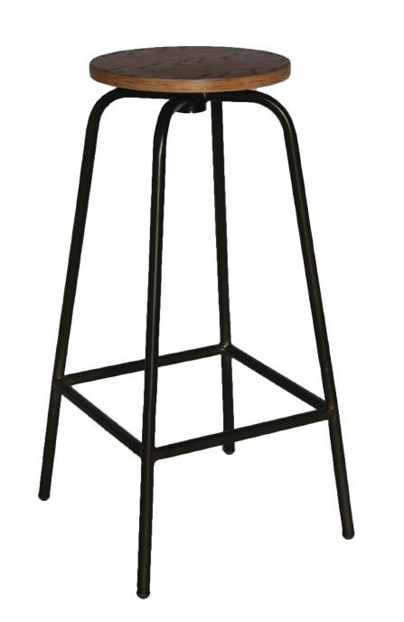 Calerio Industrial Fixed Height Wooden High Bar Stools x 2
