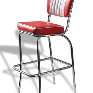 Carolina Quality Retro Padded Kitchen Bar Stool Chrome Legs Pre Assembled