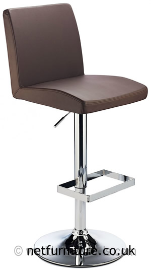 Caldew Height Adjustable Kitchen Breakfast Bar Stool - Brown Padded Swivel Seat