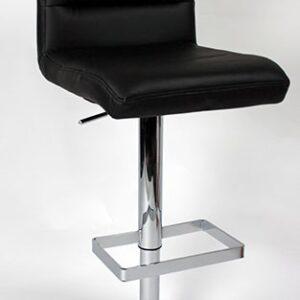 Viterbo Padded Kitchen Breakfast Bar Stool Height Adjustable Chrome Frame Black Padded Seat