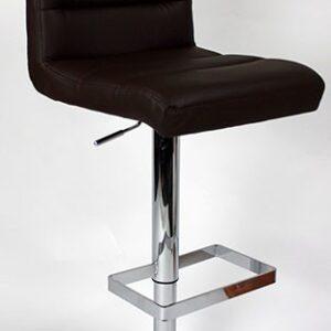 Viterbo Padded Kitchen Breakfast Bar Stool Height Adjustable Chrome Frame Brown Padded Seat