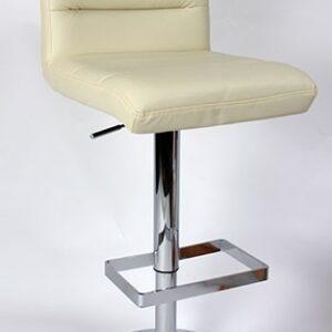 Viterbo Padded Kitchen Breakfast Bar Stool Height Adjustable Chrome Frame Cream Padded Seat