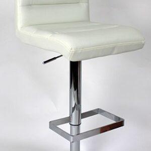 Viterbo Padded Kitchen Breakfast Bar Stool Height Adjustable Chrome Frame White Padded Seat