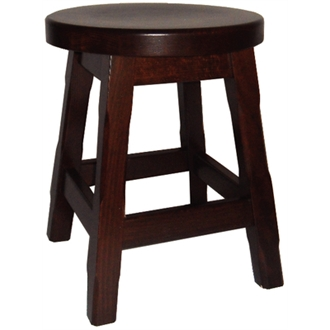 Balmeno Fully Assembled Wooden Low Bar Stools x 2- Walnut Finish