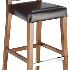 Thedas Wooden Fixed Bar Stool Padded Seat Walnut And Black
