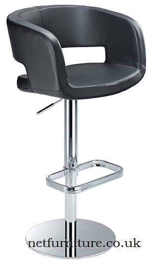 Appius Height Adjustable White Bar Stool With Real Leather Bucket Seat And Armrest