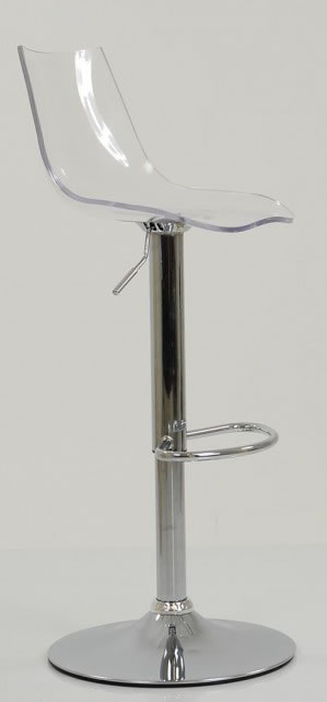 Haley Clear Acrylic Perspex Kitchen Breakfast Bar Stool Height Adjustable