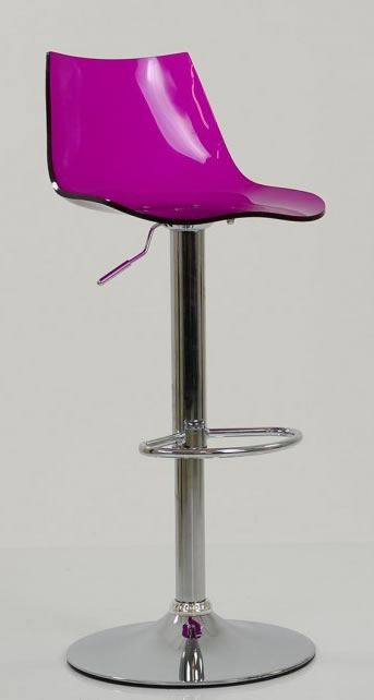 Haley Purple Acrylic Perspex Kitchen Breakfast Bar Stool Height Adjustable