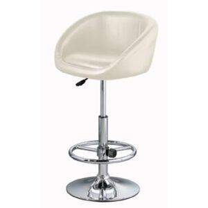 Zakomu Cream Faux Leather Kitchen Swivel Bar Stool Height Adjustable