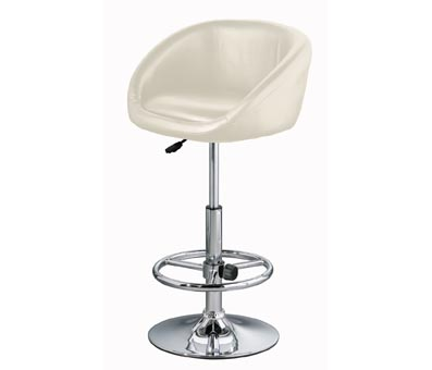 Zakomu Cream Faux Leather Kitchen Swivel Bar Stool Height Adjustable