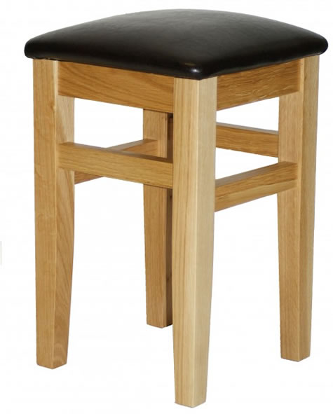 Crafty Solid Oak Wood Frame Low Stool No Back Padded Seat Fully Assembled Made To Measure Height Option