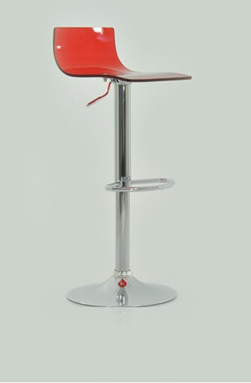 Marquis Red Acrylic Perspex Kitchen Bar Stool Height Adjustable