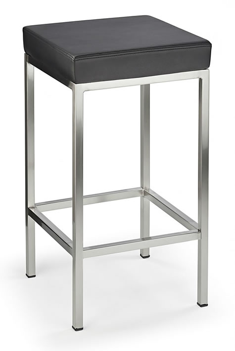 Fernow Brushed Steel Satin Frame Padded Stool Fixed Height