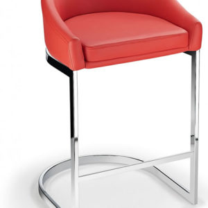 Ikany Fixed Height Breakfast Chrome Bar Stool With Red Padded Seat