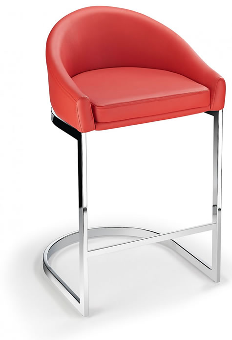 Ikany Fixed Height Kitchen Breakfast Chrome Bar Stool Red Padded Seat With Back